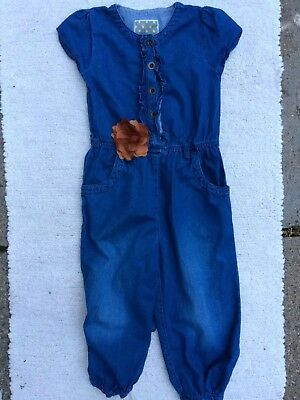 Girl's NEXT JUMPSUIT 4-5 Years Denim Blue Floral Buttons Cotton FREEPOST