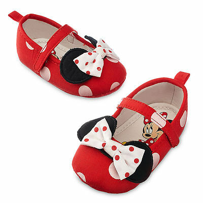 NWT Disney Store Minnie Mouse Baby Costume Shoes 6 12 18  mo polka dots RED