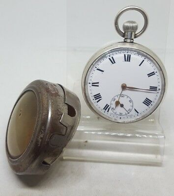 Nice antique solid silver gents DF&c UNO pocket watch 1935 working