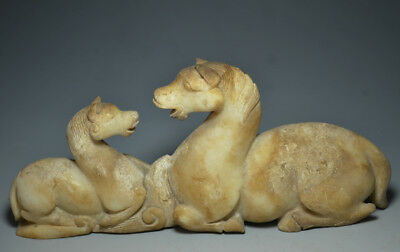 Amazing Chinese Ancient Jade Carved Little Horse And The Horse Mother Statue