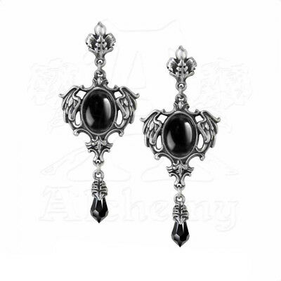 Earrings Boucles d'oreilles Alchemy Gothic Seraph of Darkness Swarovski Gothique