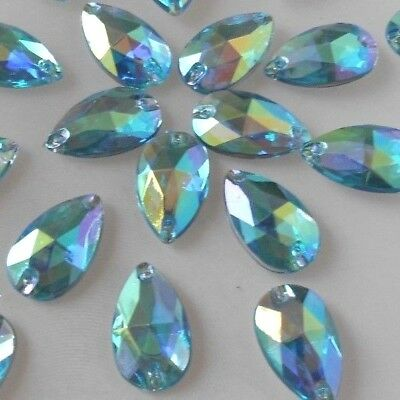 18x11mm *Light Blue AB* Tear Drop Acrylic Flatback Rhinestones Sew-on  30pc