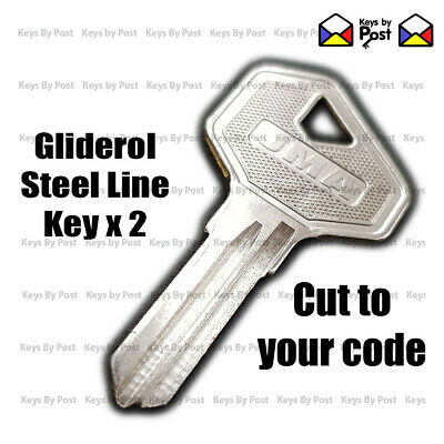 2 x Gliderol Key Roller Door Spare, Replacement Keys Cut to Code 19001 to 23400