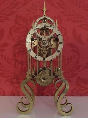 Unusual Antique Chain Fusee Skeleton Clock with Subsidiary Seconds