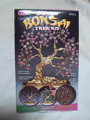 """Beaded Bonsai Tree Kit --#29411--5"""" x 7"""" with Pink/Green Glass Crackle Beads"""