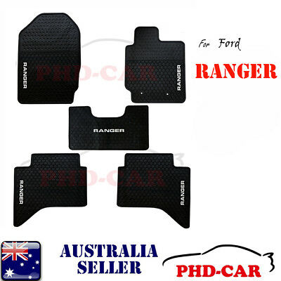 White Custome Made All Weather rubber floor mats for Ford Ranger PX PX2 11-17