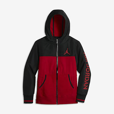 Brand New Boys Air Jordan Signature Jacket 953898-R78 Black/Gym Red Sizes L