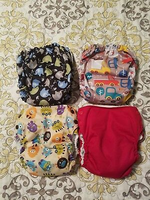 4 Blueberry Basix AIO cloth diapers size Large Monsters, trucks, elephants, red