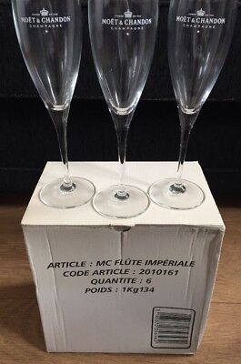 MOET & CHANDON CHAMPAGNE IMPERIAL FLUTE x6 Festive Christmas Party Bar Mancave
