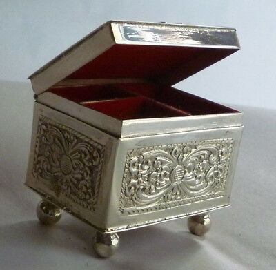 Vintage Sterling Silver Jewelry Casket Trinket Box Ball Feet Red Velvet Lining