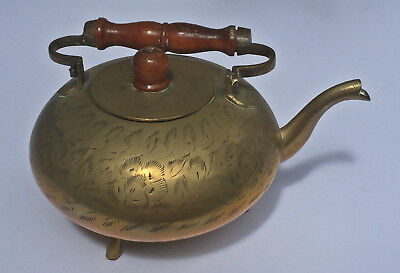 Vintage Indian Footed Engraved Etched Brass Teapot Kettle With Wood Handle