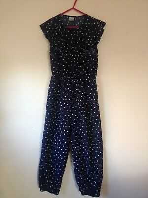 Navy And White Spotty Jumpsuit Girls Age 6-7Yrs Party Short Sleeve