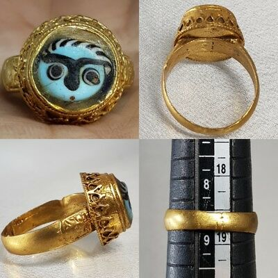 Evil eye protector Glass Face  Old  Unique  Gold gilded  ring   # D2