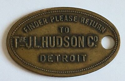 Vintage JL HUDSON CO DETROIT Brass Credit Charge Tag Key Ring Fob Token