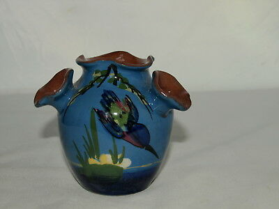3.5 inch LONGPARK TORQUAY POTTERY DIVING KINGFISHER FOUR SPOUT VASE