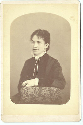 Lovey woman w/ large cruxifix  Cabinet photo Old South Photo Gallery Boston MA
