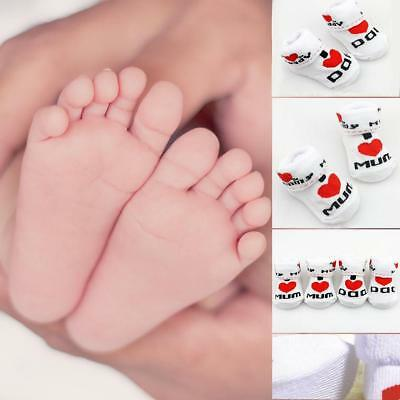 Cute Newborn Baby Kids Toddler Infant Boys Girl Cotton Mom/Dad Socks 0~6 Month B