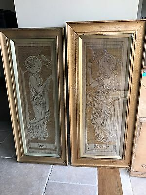 Original Antique Arts and Crafts Pair of Framed Embroideries Poetry and Song