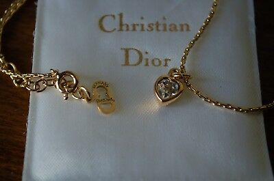 Christian Dior Gold Tone Heart Pendant Necklace Boxed, Made In Germany