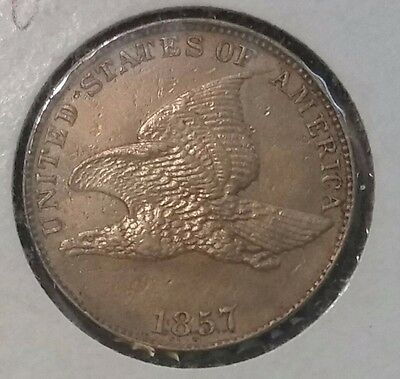 1857 1C Flying Eagle Cent AU DETAILS
