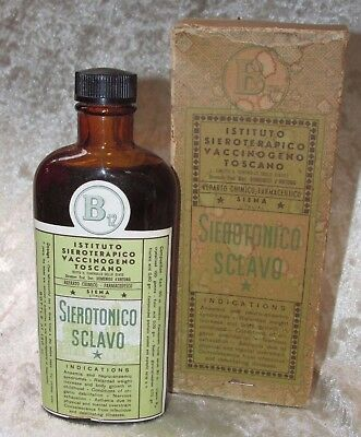Antique BOTTLE & Original Box Sierotonico Scalvo B12 Italy w/ Liquid & Papers