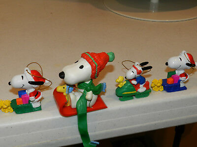 SNOOPY/WOODSTOCK Lot Of 3 PVC ORNAMENTS AND STOCKING HANGER VINTAGE