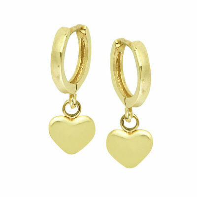 14k Yellow Gold Satin Heart Dangle Front and Back Post Earrings 44x6 mm 0.81gr