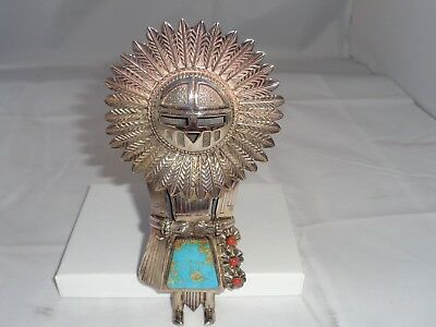 """H Boyd NAVAJO Sterling Silver Turquoise Sunface Kachina 6"""" Bolo Tie Pendant USA!"""