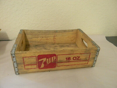 Indianapolis Ind 7 Up Bottle Crate Vintage Wooden Caddy Carrier Advertising 1985
