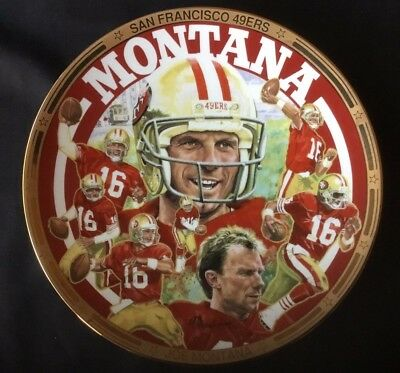 PLATE Hamilton Collection Sports Impressions 40,000 Yards Joe Montana w/COA