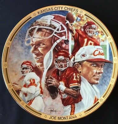 PLATE NEW IN BOX Hamilton Collection Chief on the Field Joe Montana KC Chiefs