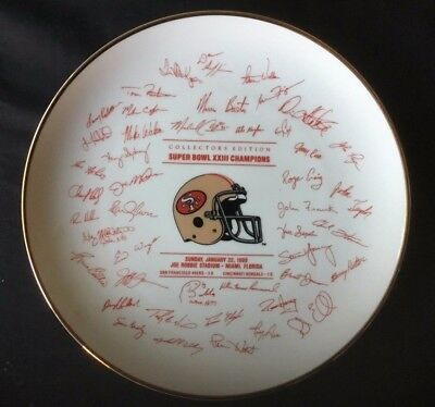 PLATE Papel Super Bowl XXIII Champions Signature San Francisco 49ers Joe Montana
