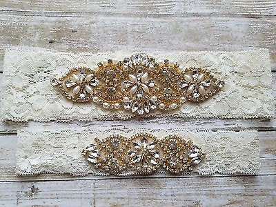 Wedding Garter,Rhinestone&Pearls with Gold Accents,Ivory Lace,Keepsake&Toss Set
