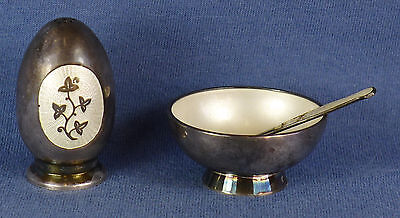 3 Pce Set Meka (Denmark) Guilloche & Sterling Salt Cellar, Spoon & Pepper Shaker