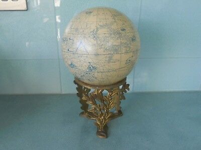 Vintage Reproduction Old World Terrestrial Globe & Gilt Metal Stand- Paper Gores