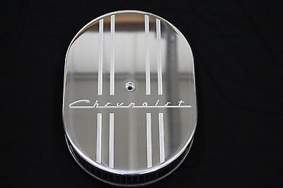Classic Vintage Chevrolet 12 Inch Oval Air Cleaner 2 K&N Filter Chevy V8 350 400