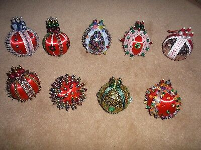 """Lot Of 9 Larger (About 10"""") Handmade Beaded/sequins Vintage Christmas Ornaments"""