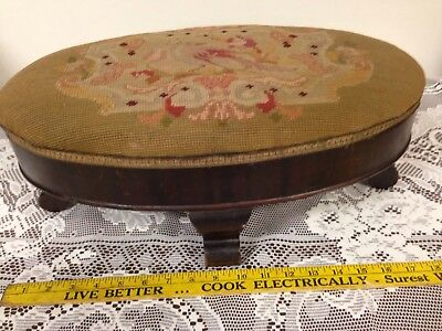 "Antique Oval Needlepoint Footstool ""Worthwhile Furniture"" Kittinger Buffalo 1866"
