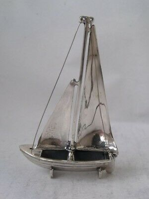 Miniature Solid Sterling Silver Sailing Boat Model c. 1990/ H 6.2 cm