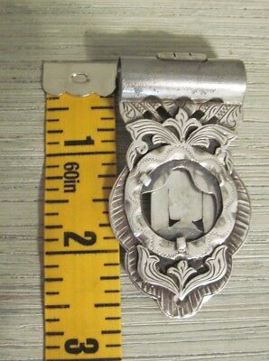 Fancy Engraved STERLING SILVER MONEY CLIP Marked Crown Sterling Mexico heavy