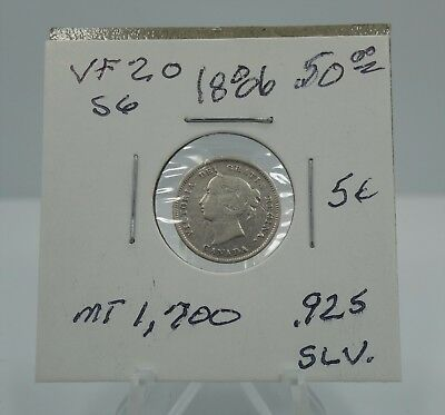 1886 Canada Canadian 5 Cents .925 Silver Coin 5c - You Grade It - Z15