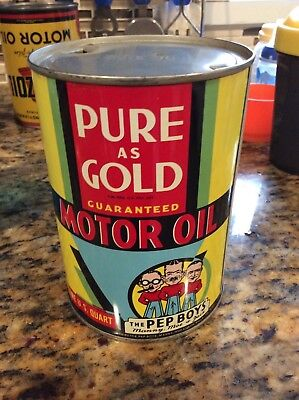 Vintage Pep Boys Pure as Gold sae 30 Motor oil can 1 quart