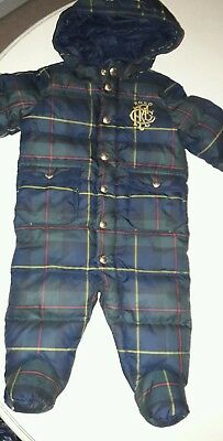 Genuine ralph lauren luxury feather quilted baby snow pram suit - new