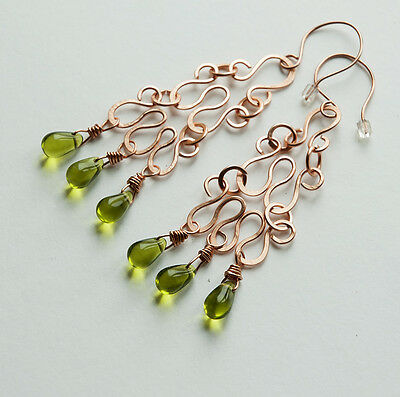 copper green czech glass teardrop briolette handmade hammered long earrings