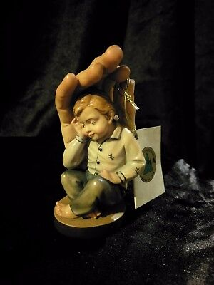 Guardian Hand With Boy, Hand Carved Painted Figurine Statue 4""