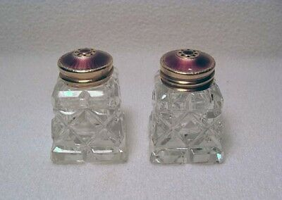 Hroaz Prydz Gold Wash Sterling Purple Enamel Glass Salt & Pepper Shakers*wow!