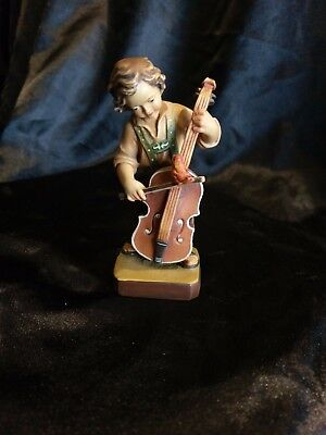 """Boy Playing Cello Hand Carved Painted Figurine Statue 5"""""""