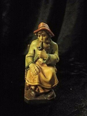 """Old Man Smoking Pipe Hand Carved Painted Figurine Statue 4"""""""