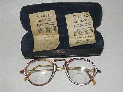 Antique Vintage Faux Tortoiseshell  Spectacles - Original Glasses Case