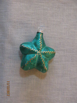 Vtg Glass Star Christmas Ornament, Green w/Silver Glitter Accents